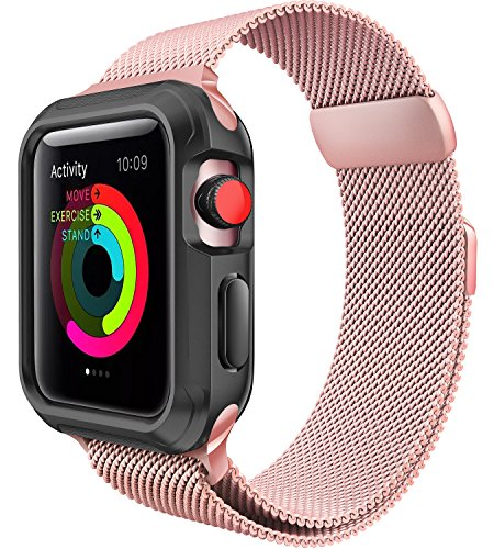 For Apple Watch Band 38mm, iWatch Bands 38mm Women, Rose Gold Apple Watch Milanese Loop Series 3 2 1
