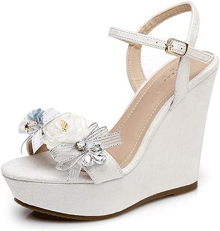 Scarpe Da Sposa Con Zeppa Alta.Sandali Con Zeppa Elegante Donna Moda Piattaforma 12cm Tacchi Alti