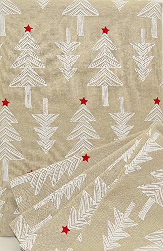 (xc-st102n8 Nordic Holiday White & Natural Arctic Christmas Tree Tablecloth Set 102 x 60 8 Napkins 100% Cotton)