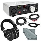 Focusrite iTrack Solo USB Audio Interface Deluxe Bundle W/ XLR Cable + 2 RCA Male to 2 RCA Male Dual Cable + 1/4 Inch Cable + Tascam Headphones + FiberTique Cleaning cloth