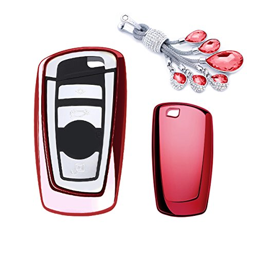 (MODIPIM Keyless Entry Remote Cover Soft TPU Key Fob Case with Diamond Tassel Keychain for BMW 320li 3-Series 5-Series 1-Series 528 535 X3 X4 2/3-Buttons Smart Key Color Red)