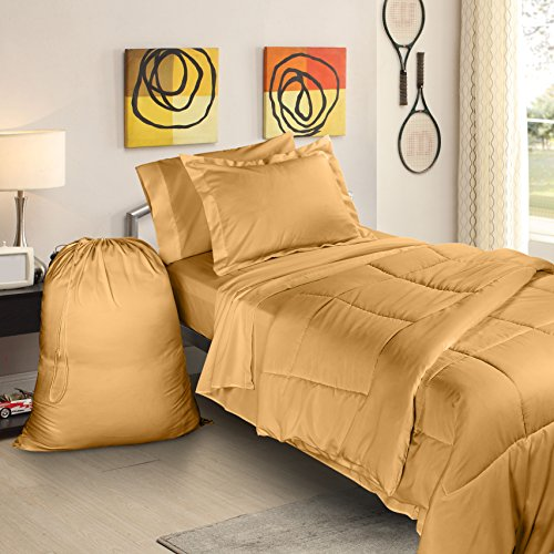 Clara Clark College Dorm Room Bed in a Bag Set, Twin X-Large, Camel Gold, 6 Piece