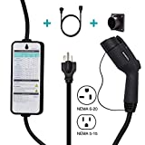Zencar Level 2 EV Charger (100-240V,16A,25ft) Portable EVSE Electric Vehicle Charging Station with Adapter for Level 1 EV Charger (NEMA6-20 with Adapter for NEMA5-15,Black)