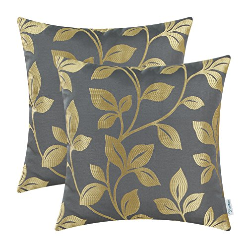(CaliTime Pack of 2 Soft Throw Pillow Covers Cases for Couch Sofa Home Decoration Cute Growing Leaves 18 X 18 inches Medium Grey/Gold)