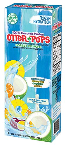 Otter Pops 100% Coconut Water Sorbet Ice Pops - Made from Coconut Water - New Tropical Flavors Include Fruit Punch, Pineapple, Coconut and Mango (1 Box of 6 Ice Pops)