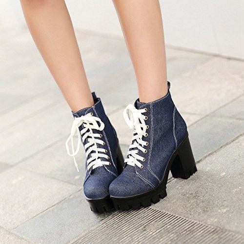 Dark Lace up Heel Women Platform Shoes High Blue Denim Women's Boots Square AIWEIYi Heeled Skin HZBxq