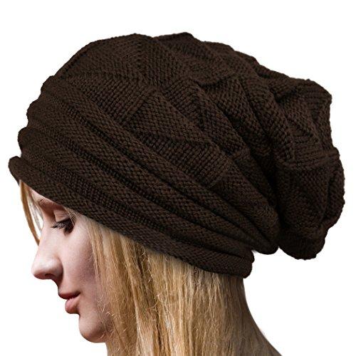 Molly Womens Winter Beanie Knit Crochet Ski Hat Oversized Cap Hat Warm Coffee