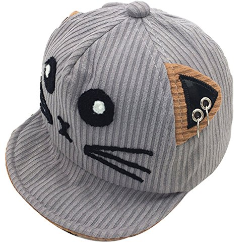 hkjc Autumn/Winter Cat Hat Children Baby Boys and Girls Baseball Cap Hoop Corduroy Peaked Cap Visor (Grey)]()