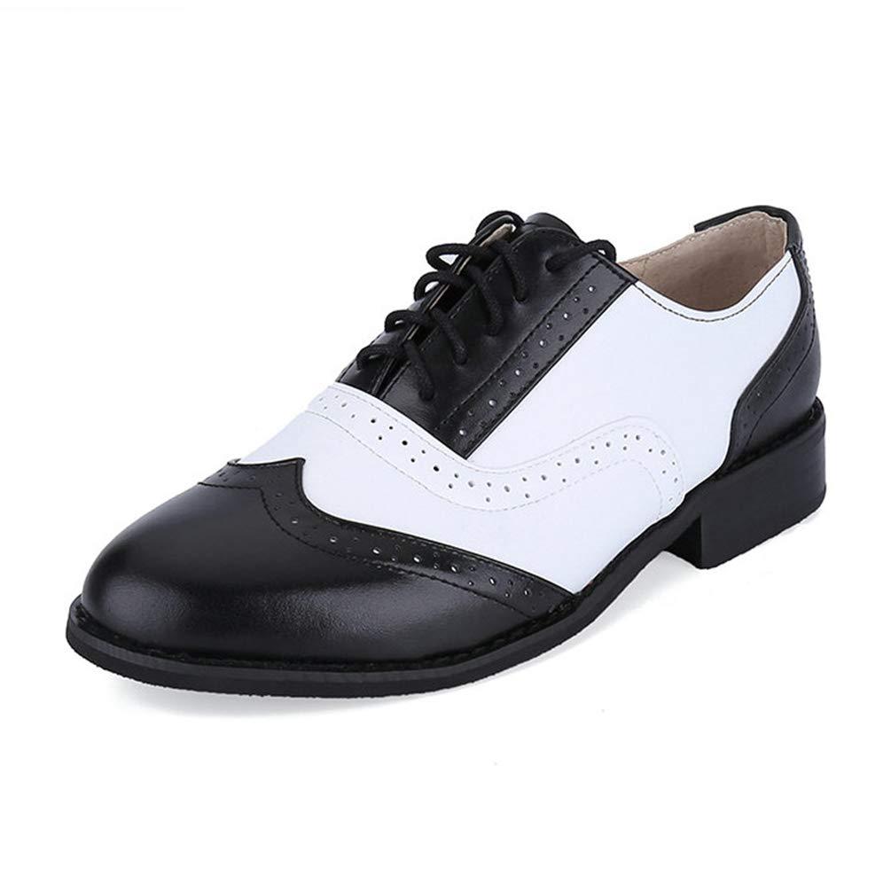 Mens Brogue Zapatos MoccasinsLeather Negro Zapatos Oxford Blanco para Los Hombres De Encaje-Up Zapatos De Vestir 43 EU|Negro