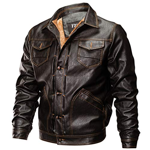 - Oudahood Faux Men's Leather Jacket Military Jacket Brown M