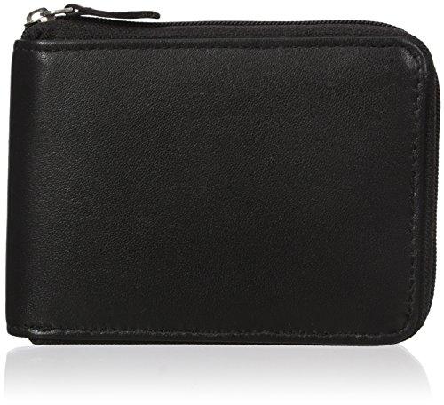 Buxton Black Leather (Buxton Men's Emblem Zip-around Billfold Wallet, Black, One Size)