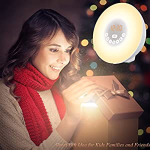 Alarm Clock Wake-Up Light, Hotweild 7 Colors Night Light Radio Alarm Clocks for Kids and Bedrooms LED Display Touch Control Sunrise Alarm Clock with Snooze & 6 Natural Sounds for Heavy Sleeper