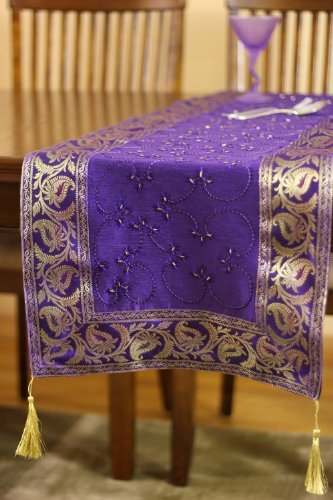 Hand Embroidered Table Runner (Plum Purple, 72