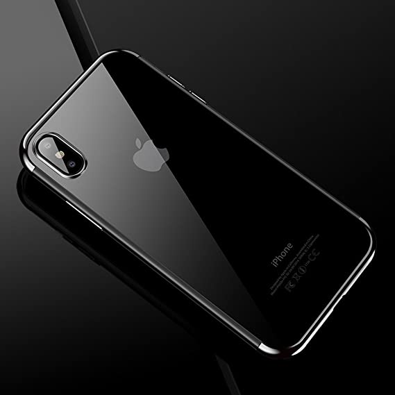 the best attitude d30d2 8a8d0 Cafele soft TPU case for iPhone X cases ultra thin transparent plating  shining case for iPhone X Mixed silicon cover (Silver)