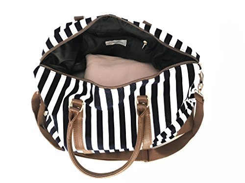 Cyber-Monday-Sale-2017, Holiday-Deals, Sales - Black Travel Tote, Lulu Dharma Womens Striped Weekender Bag, Duffle Bag, Overnight Bag, Travel Bag, Luggage, Suitcase, Oversized Bag, Carry On Luggage by Lulu Dharma (Image #3)