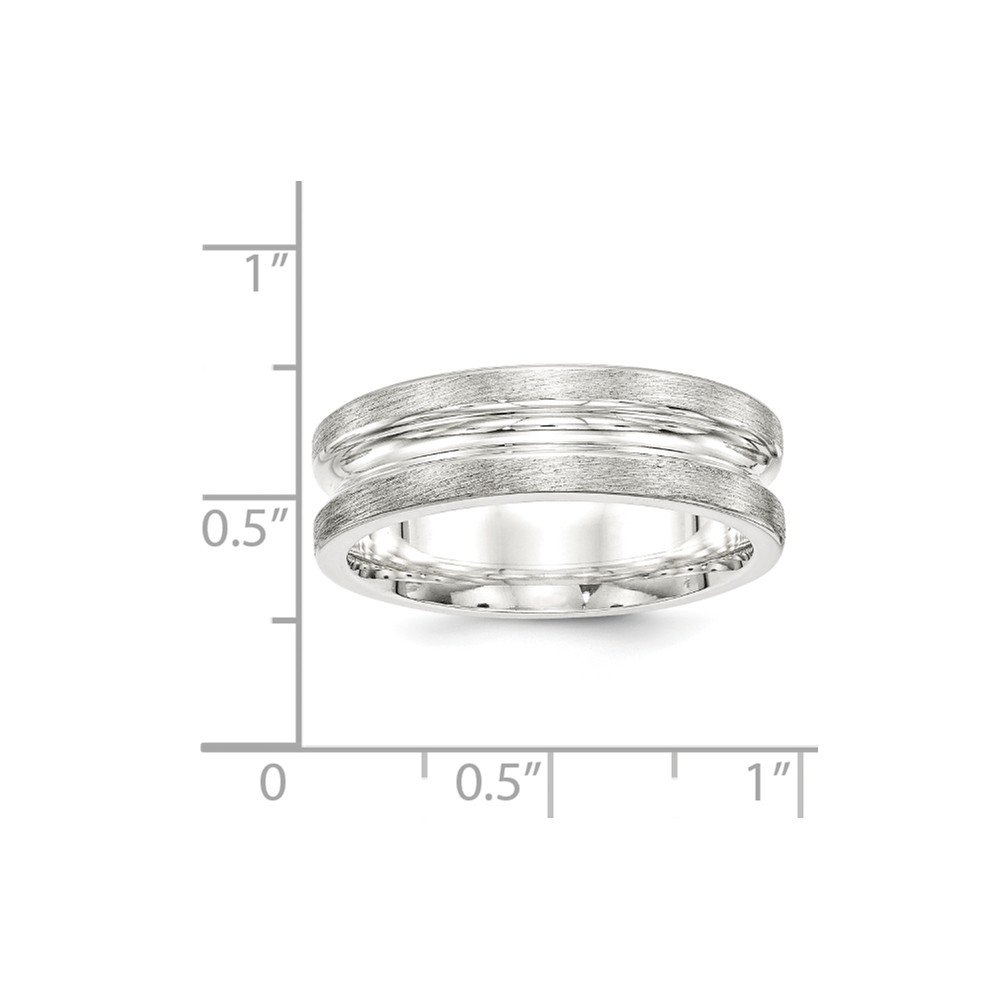 Jewelry Stores Network 7mm Sterling Silver Brushed Deep Grooved Wedding Band Ring