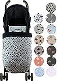 Universal Baby Blanket Footmuff for Pushchairs -Graco, Babybjorn, Kolcraft-Janabebe (Black Star, Fleece)