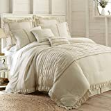 Amrapur Overseas Antonella 8-Piece Pleated Comforter Set, King, Beige