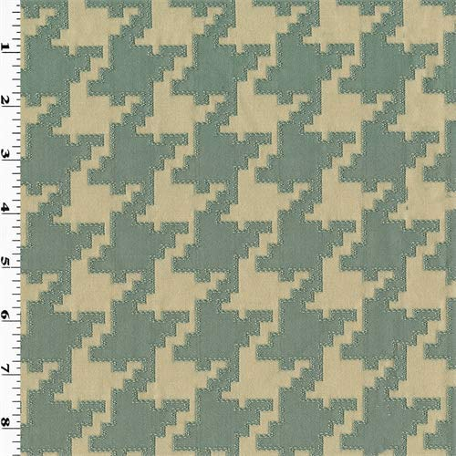 Teal/Beige Houndstooth Jacquard Home Decorating Fabric, Fabric by The Yard (Fabric Upholstery Houndstooth)