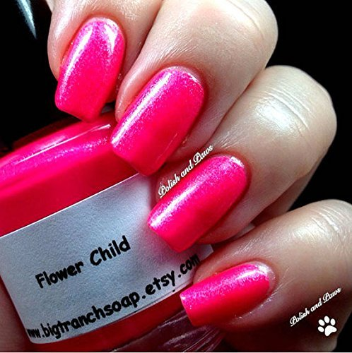 Neon Pink Nail Polish - Fluorescent - FLOWER CHILD - UV Reactive Nail Polish/Lacquer - FREE SHIPPING - Regular Full Sized Bottle (15 ml - Lacquer Flower