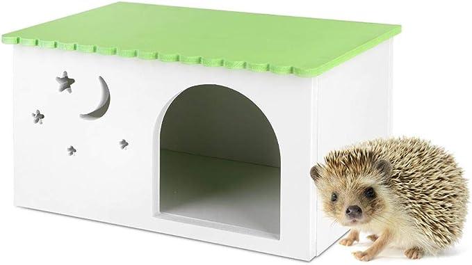 Pssopp Caja Erizo Conejillos de Indias Conejos Nido Casa Simulación Ecológica Caja Jaula Mascotas Cabaña Verde con Ventana