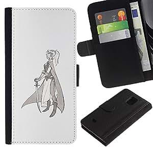 iKiki Tech / Cartera Funda Carcasa - Warrior Princess Sword Profile Art Drawing - Samsung Galaxy S5 Mini, SM-G800, NOT S5 REGULAR!