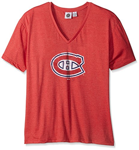 Profile Big & Tall NHL Vancouver Canucks Women's Short Sleeve Heather V-Neck T-Shirt, 4X, Red/Heather