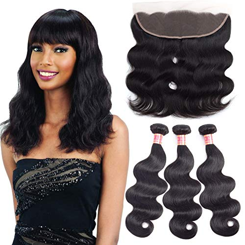 HLSK Brazilian Virgin Hair Body Wave 3 Bundles with Frontal Closure Brazilian Human Hair With Frontal Body Wave Natural Color