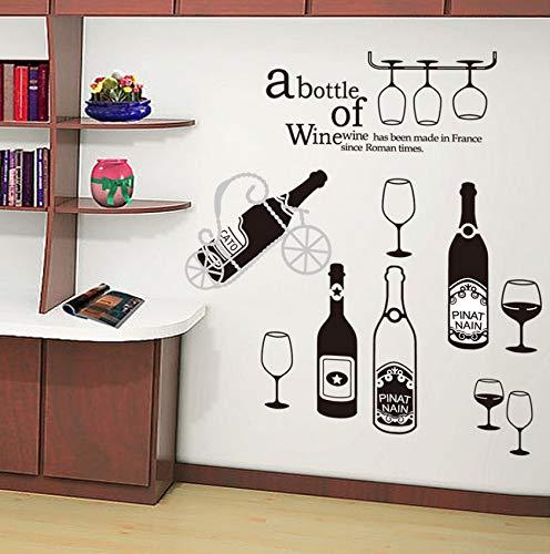 Pbldb Black Wine Bottles Wall Art Mural Decor Wine Bottle Shelves Glass Wallpaper Decal Sticker A Bottle of Wine Wall Quote Applique 60X90Cm ()