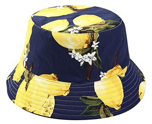 - Joylife Fruit Print Bucket Hat Banana Pattern Fisherman Hats Summer Reversible Packable Cap (Lemon)