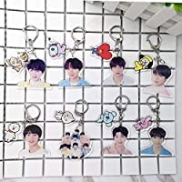 CHOUREN BTS bt21 Photo Cartoon Arcylic Keychain Backpack Pendant (Color : JUNGKOOK)