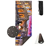 QNKUqz Colosseum Rome Italy Night Landscape Deluxe Yoga Mat Aerobic Exercise Pilates
