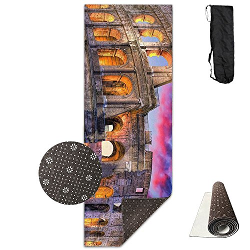 QNKUqz Colosseum Rome Italy Night Landscape Deluxe Yoga Mat Aerobic Exercise Pilates by QNKUqz