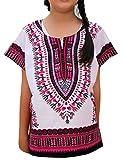 Raan Pah Muang RaanPahMuang Unisex Bright African White Children Dashiki Cotton Shirt, 6-8 Years Tall, Pink On White