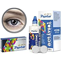 Augen Tropical Quarterly Cosmetic Color Contact Lens With LensCareKit - 2 Lens Pack (Gray-8.00)