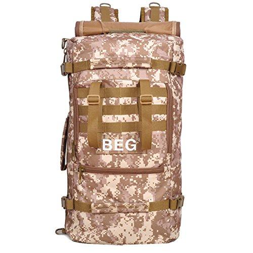 aofit 60L gran capacidad deportes al aire libre mochila multifuncional mochila de viaje mochila Militar ejército combate táctico mochila senderismo mochila, hombre, desert camouflage desert camouflage