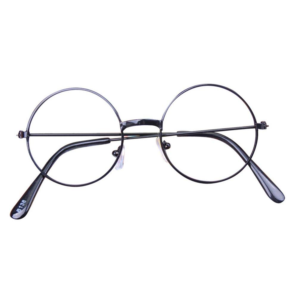 Hibote Ragazze Ragazzi Occhiali Rotondi - occhiali chiaro lenti geek/nerd retrò occhiali con occhiali caso X170929ETYJJ0302-X