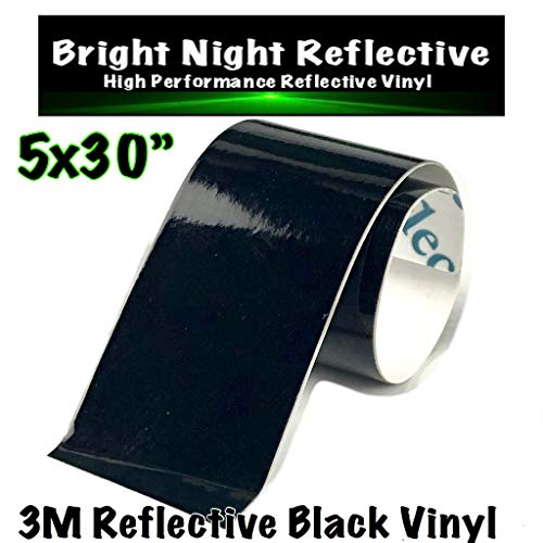 3M Black Reflective Vinyl Decal Sheet 5x30 Reflects White Great for Helmets Cars Trucks de-Chrome PPE Safety ()