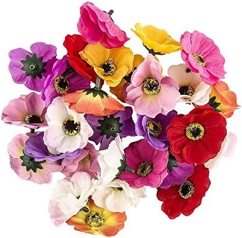 Ideen mit Herz Deko-Blüten, Kunstblumen, Blüten-Köpfe, Verschiedene Sorten,  ca. Ø 9-9 cm (Anemone - bunt - 9 Stück)