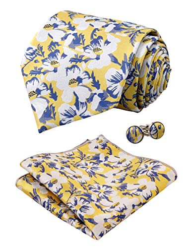 Alizeal Mens Floral Pattern Tie, Hanky and Cufflinks Set, Yellow
