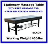 New Black Heavy Duty Easy Setup Stationary Spa Massage Table BM01