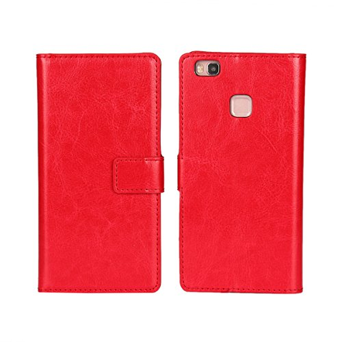Huawei P9 Lite/G9 Lite Funda,COOLKE Retro PU Leather Wallet With Card Pouch Stand de protección Funda Carcasa Cuero Tapa Case Cover para Huawei P9 Lite/ G9 Lite - Rojo Rojo