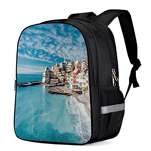 Laptop Backpack,Casual Daypacks Slim Durable Water Resistant Computer Bag for College Student Women Men,Panorama of Old Italian Fishing Village Beach in Old Province Coastal Charm Image 16
