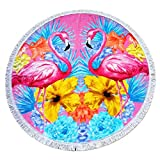"""CC EFIND Round Towel with Fringe Tassels, 100% Cotton Thick Soft Blanket Throw, Diameter 48"""" Twin Flamingo Terry Towel for Beach, Swimming, Bath, Camping, Picnic, Yoga and Travel"""
