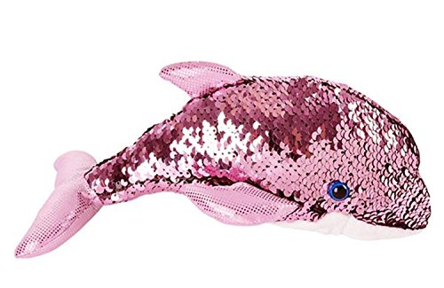 Sequin Dolphin Plush Stuffed Animal by Sequinimals, Reversible Sequins Pink and Silver