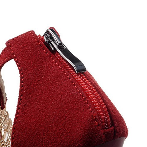 AmoonyFashion Womens Zipper Open Toe Spikes Stilettos Frosted Solid Sandals Red i4hi6v