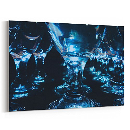 Dark Blue Water Goblet - Westlake Art - Glass Photography - 12x18 Canvas Print Wall Art - Canvas Stretched Gallery Wrap Modern Picture Photography Artwork - Ready to Hang 12x18 Inch (E67D-11A15)