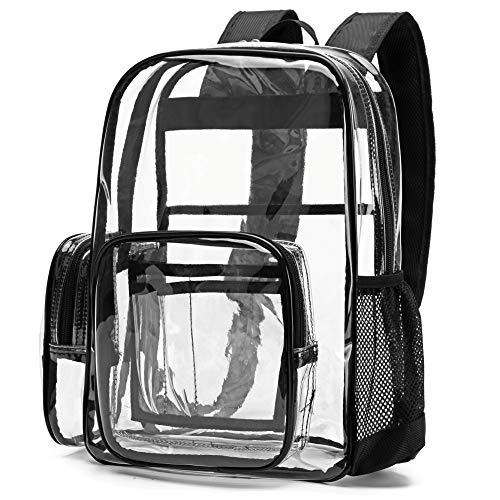 Cambond Clear Backpack, Heavy Duty Transparent Backpacks with Reinforced Straps (Black)