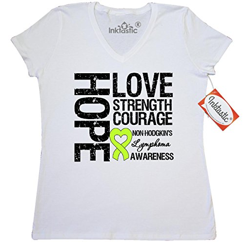 Inktastic Non-Hodgkins Lymphoma Hope Love Strength Women's V-Neck T-Shirts by HDD Large White