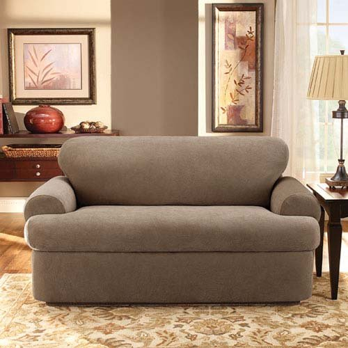 Sure Fit Stretch Pique 3-Piece  - Sofa Slipcover  - Taupe (SF37943) by Surefit